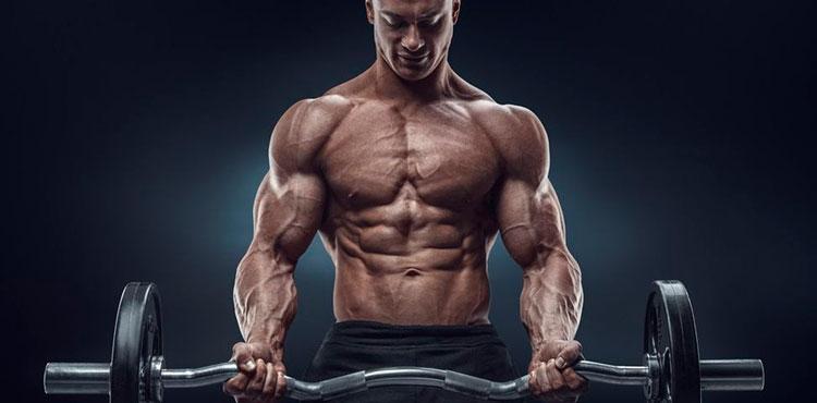 Бодибилдер качает мышцы со штангой