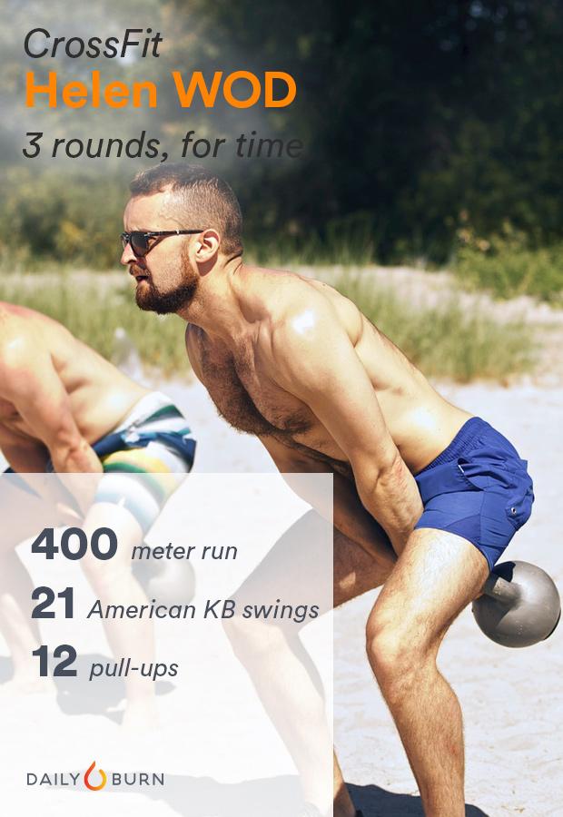 «Бег на 400 метров, американские махи с гирей, подтягивания)