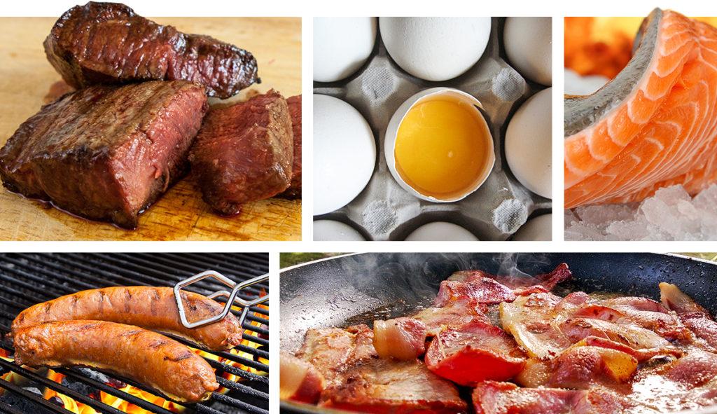 Лучший способ потреблять много калорий – есть больше мяса, курицы, рыбы, цельных яиц, сосисок, бекона, растительного масла, а также пить протеин.