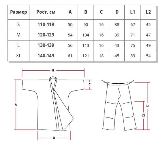 Таблица размеров кимоно