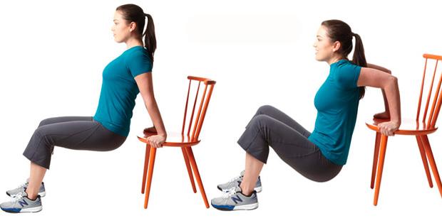 Обратные отжимания от стула на трицепс