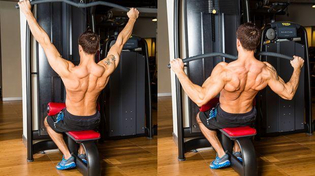 Тяга верхнего блока к груди широким хватом для прокачки широчайших мышц спины